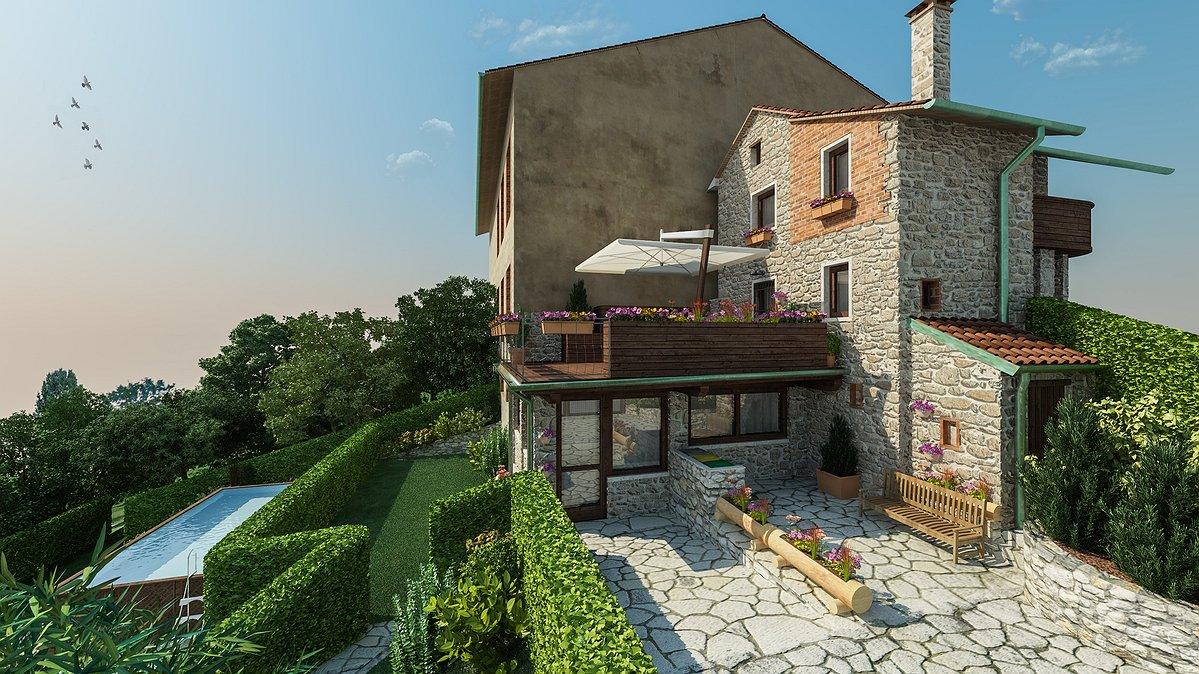 Studio sagitair architettura interior design render for Piani di casa contemporanea in collina