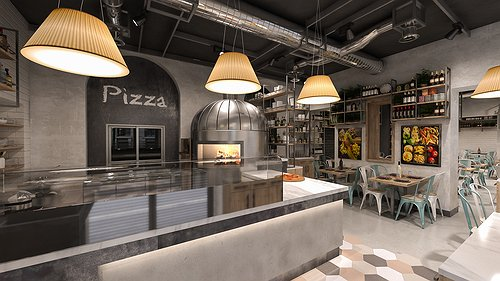 Studio sagitair architettura interior design render for Arredamento pizzeria moderno