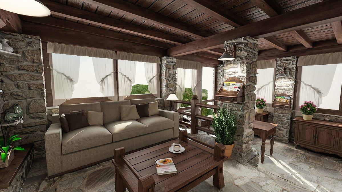 Parete Soggiorno Legno : Studio sagitair architettura interior design render