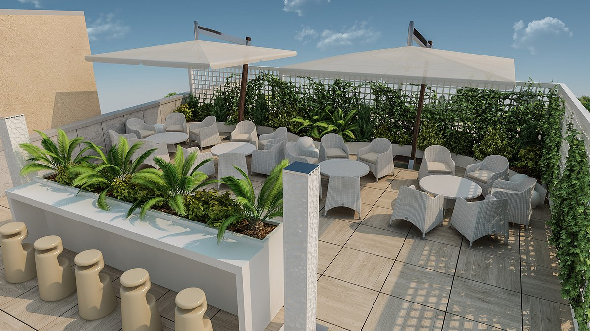 Studio sagitair architettura interior design render for Roof garden milano